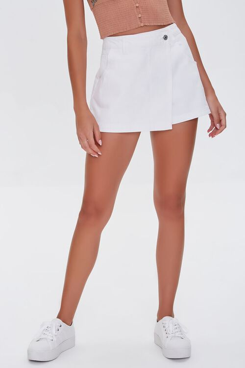Twill Buttoned Wrap Skort, image 2