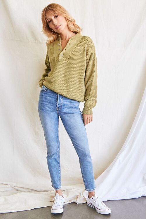 LIGHT OLIVE Purl-Yoke Buttoned Sweater, image 4