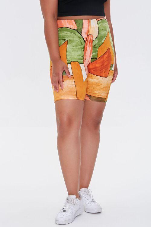 Plus Size Geo Print Biker Shorts, image 2