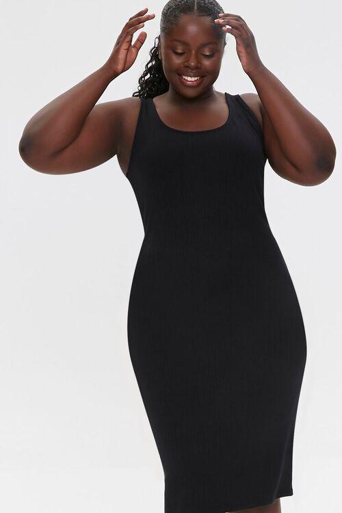 BLACK Plus Size Ribbed Tank Dress, image 1