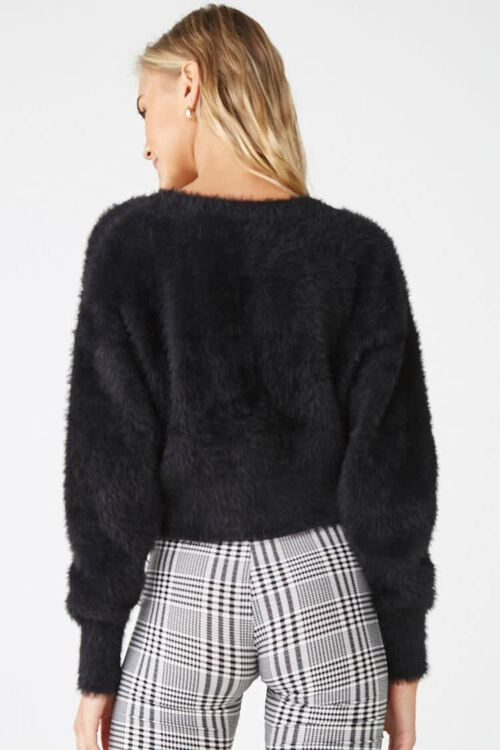 Fuzzy Button-Front Cardigan, image 3