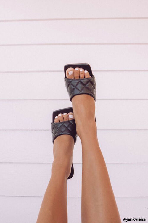 Quilted Open Toe Heels, image 1