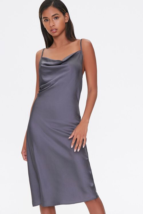 Satin Cowl Slip Dress, image 1