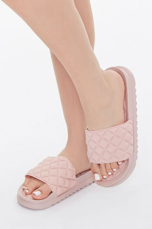 BLUSH Faux Leather Quilted Slides, image 1