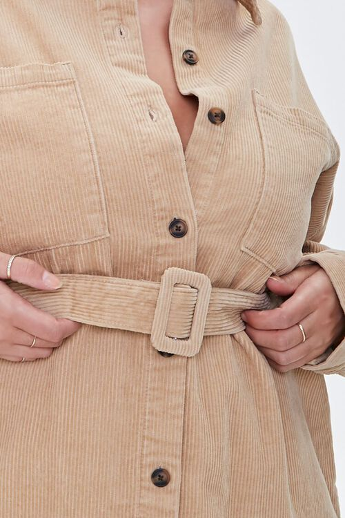 Plus Size Corduroy Belted Shacket, image 5