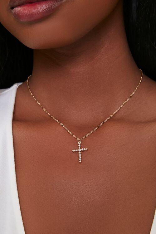 GOLD Cross Pendant Necklace, image 1