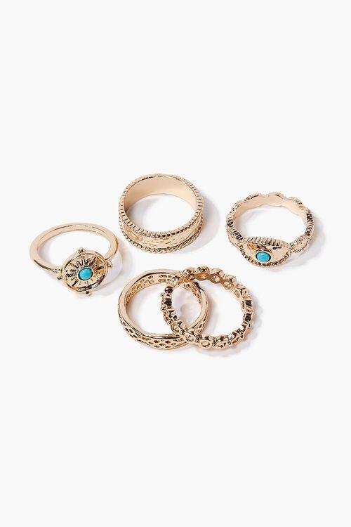 GOLD Faux Turquoise Ring Set, image 1