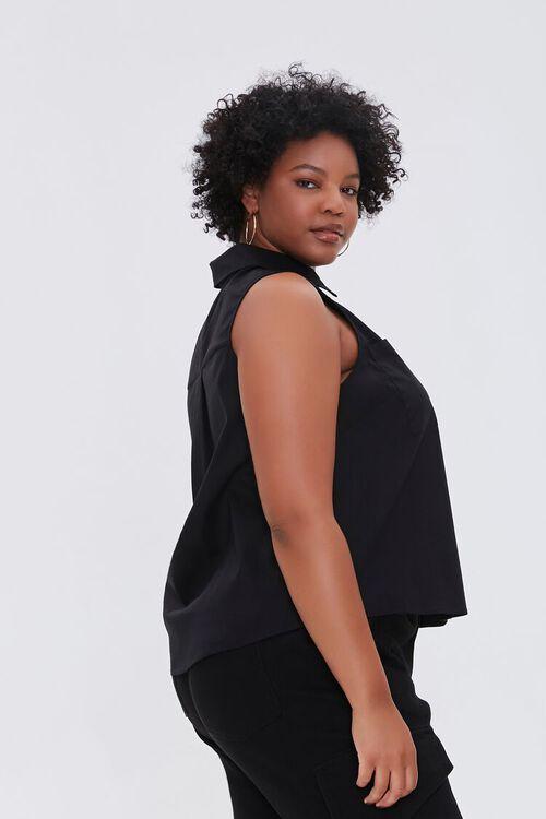 Plus Size Poplin Sleeveless Shirt, image 2