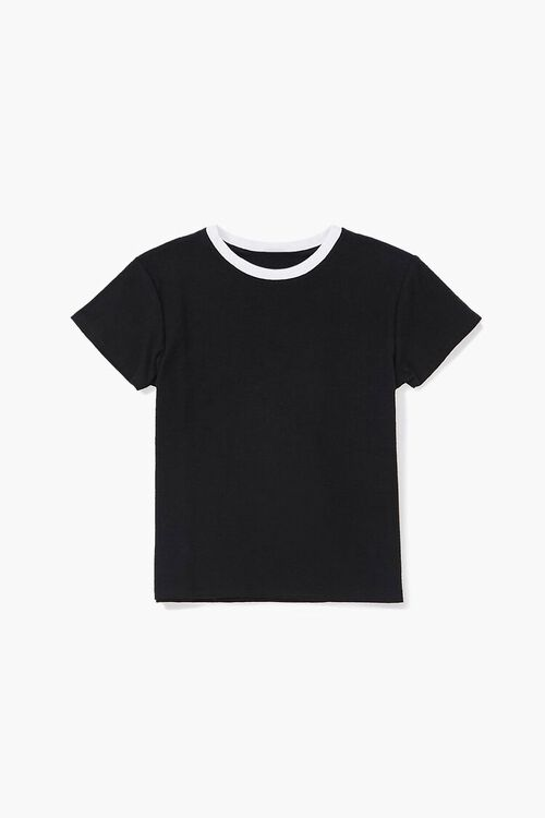 Girls Contrast Crew Neck Tee (Kids), image 1