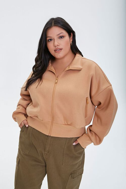 Plus Size Funnel Neck Jacket, image 1