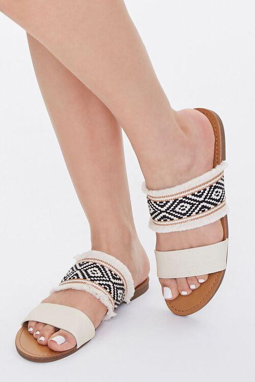 BEIGE Geo Print Frayed Sandals, image 5