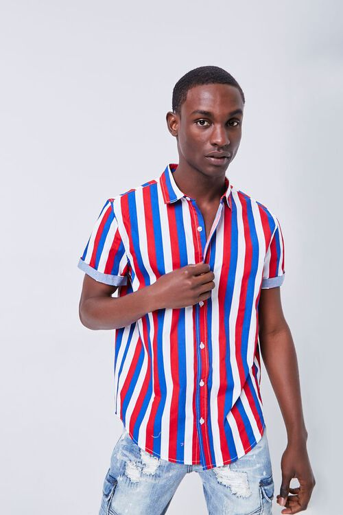 RED/MULTI Fitted Striped Print Shirt, image 1