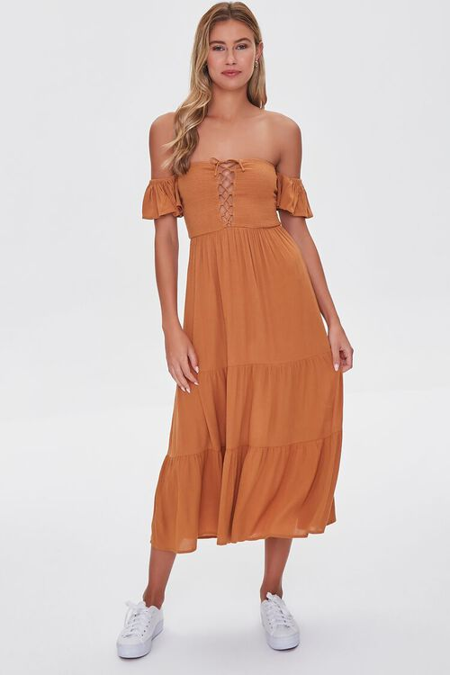 AMBER Lace-Up Off-the-Shoulder Midi Dress, image 4