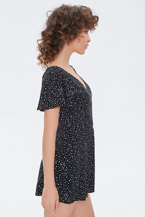 Spotted Print Button-Front Romper, image 2