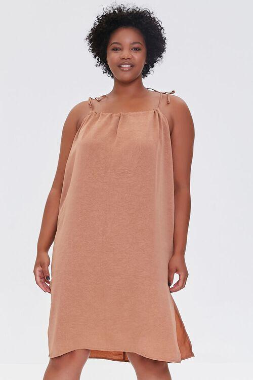 Plus Size Self-Tie Cami Shift Dress, image 1