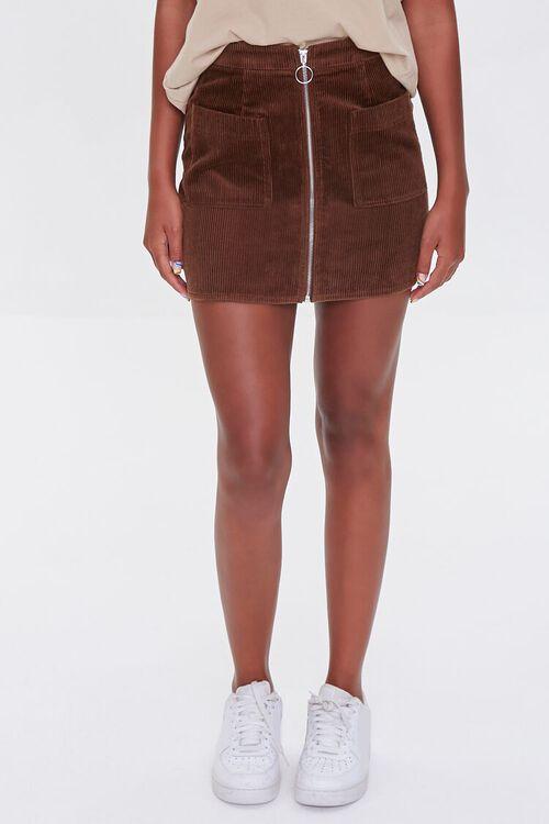 BROWN Corduroy Zip-Front Mini Skirt, image 2