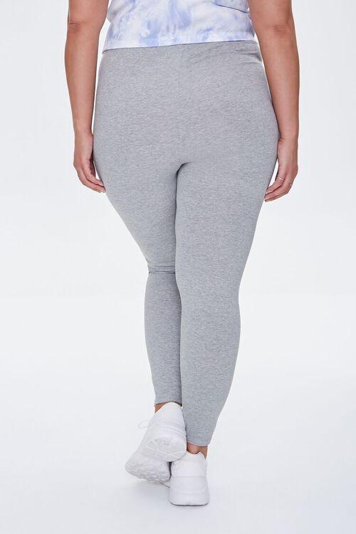 HEATHER GREY/WHITE Plus Size Side-Striped Leggings, image 4