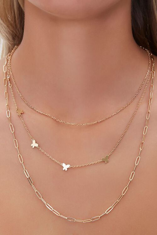 GOLD Butterfly Charm Layered Necklace, image 1