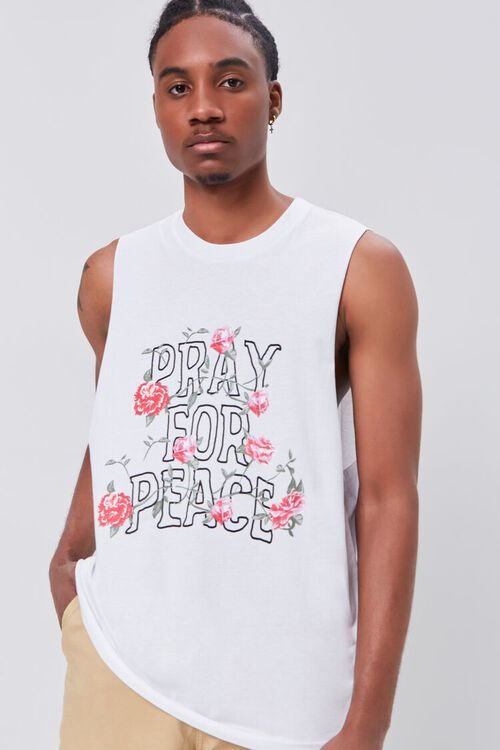 Organically Grown Cotton Pray for Peace Graphic Tank Top, image 1