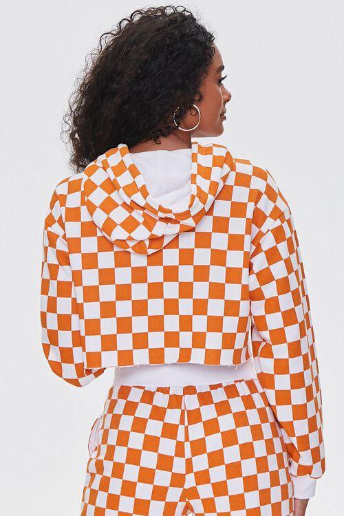 ORANGE/WHITE Checkered Cropped Hoodie, image 3