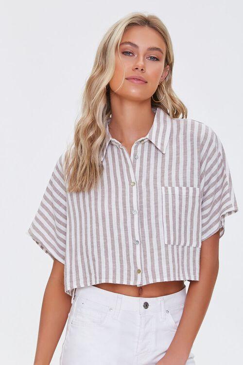 Striped Linen-Blend Shirt, image 1