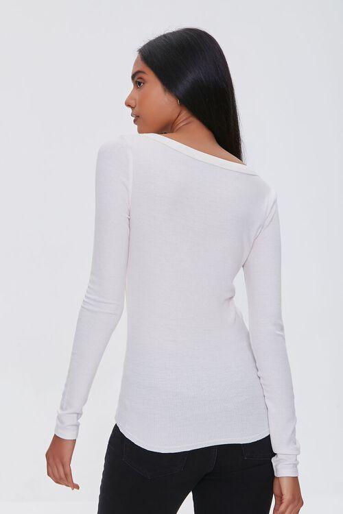 IVORY Split-Neck Long Sleeve Top, image 3