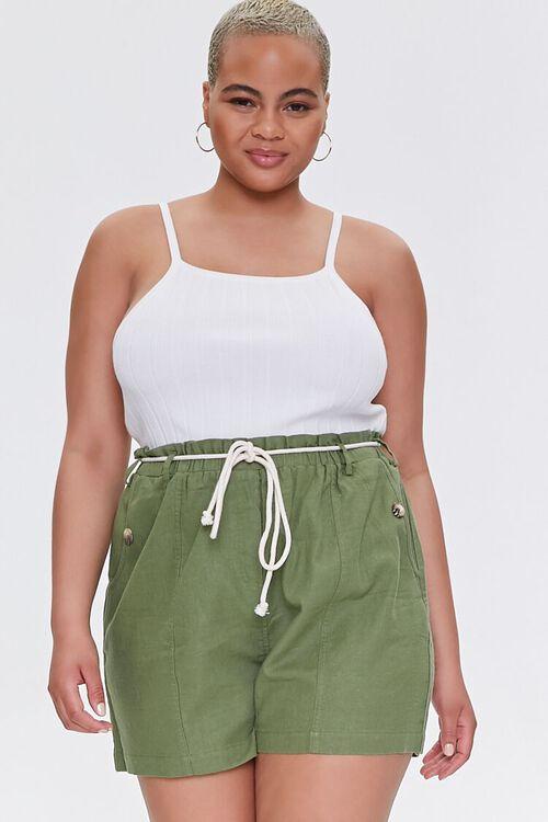Plus Size Paperbag Linen-Blend Shorts, image 1