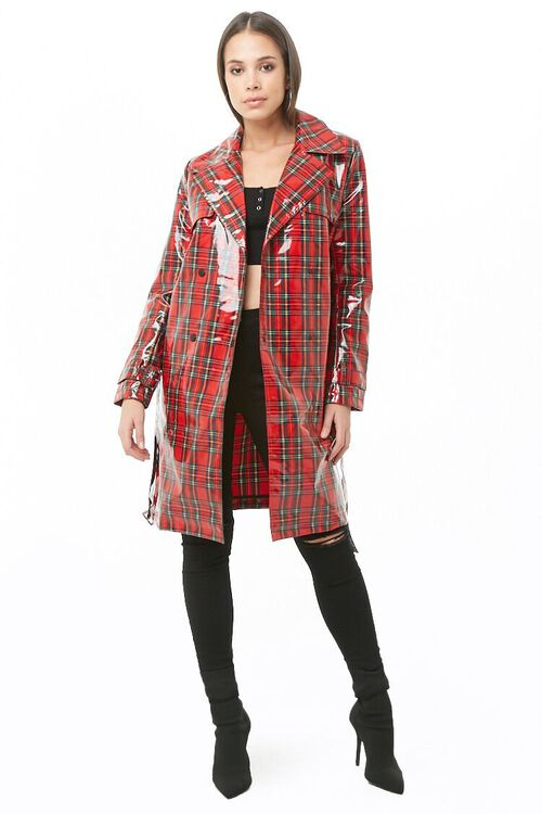 Plaid Print Trench Coat, image 4