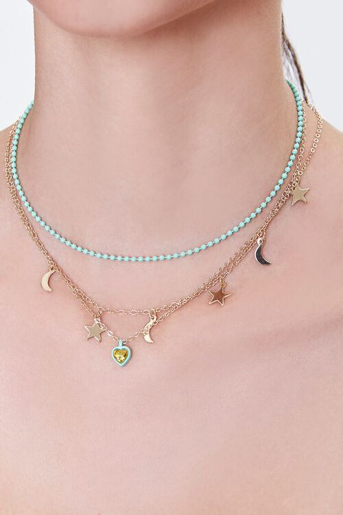 GOLD/MINT Sun & Moon Layered Necklace, image 1