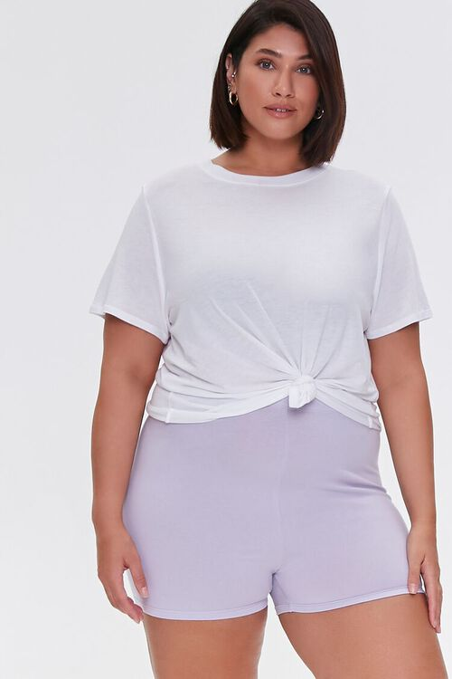 DUSTY LAVENDER Plus Size Basic Organically Grown Cotton Hot Shorts, image 1