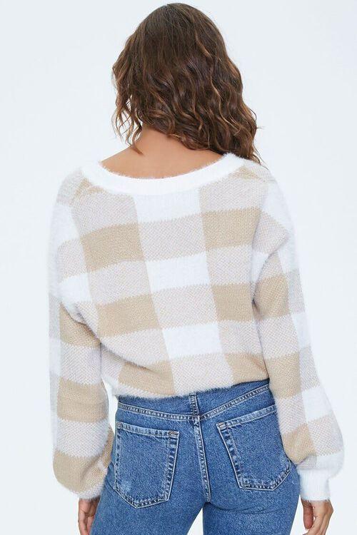 BROWN/CREAM Fuzzy Plaid Cardigan Sweater, image 3