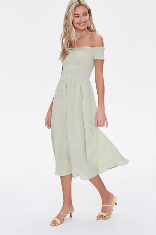 Smocked Off-the-Shoulder Dress, image 1