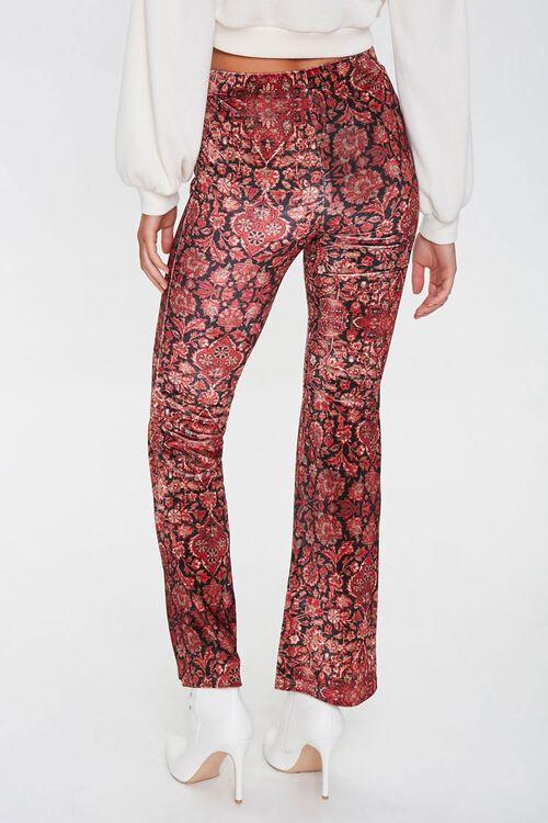 BLACK/RED Ornate Floral Flare Pants, image 3