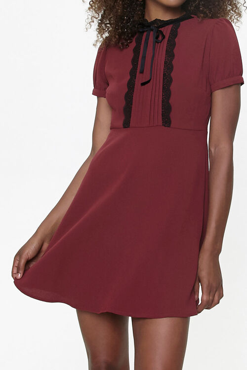 Lace-Trim Pussycat Bow Mini Dress, image 1