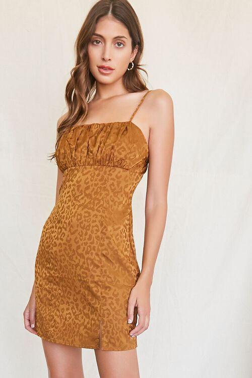 BROWN Leopard Print Mini Dress, image 1