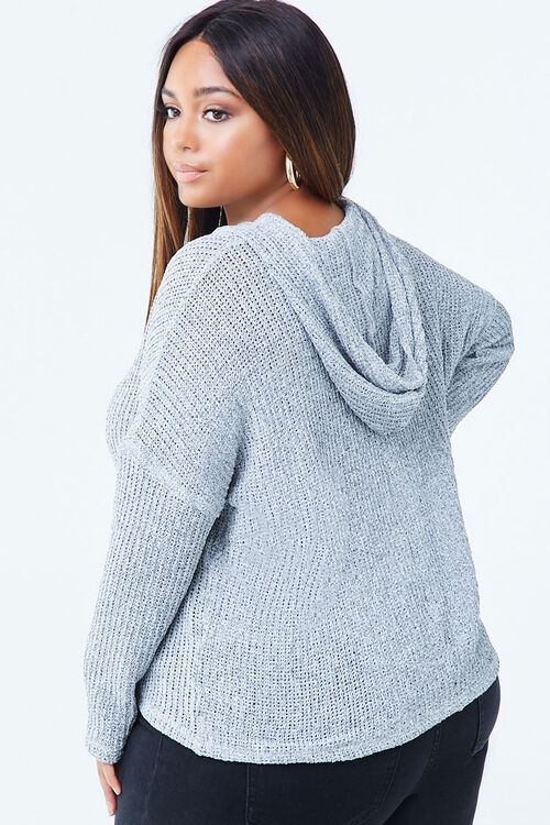 Plus Size Hooded Marled Top, image 2
