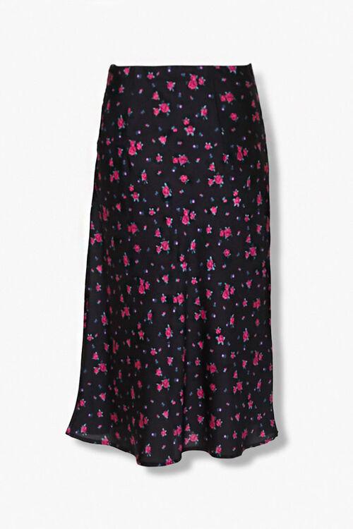 BLACK/MULTI Rose Floral Print Skirt, image 3