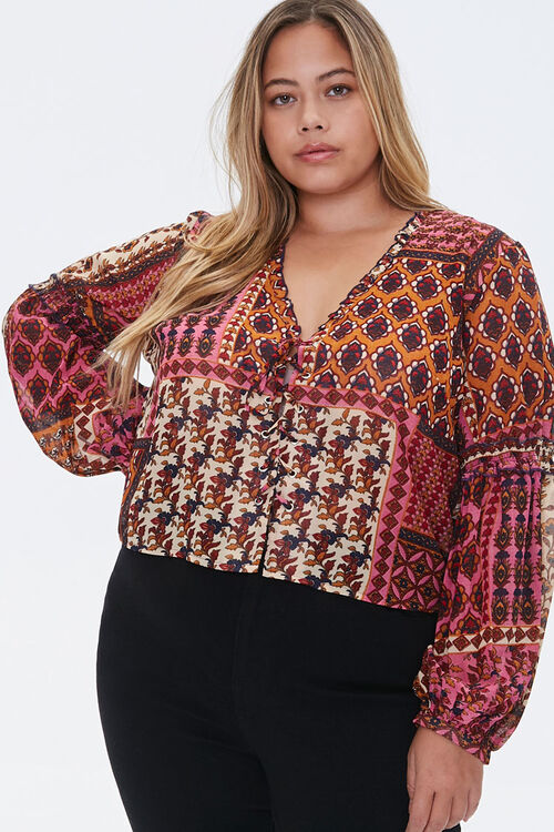 Plus Size Ornate Lace-Up Top, image 1