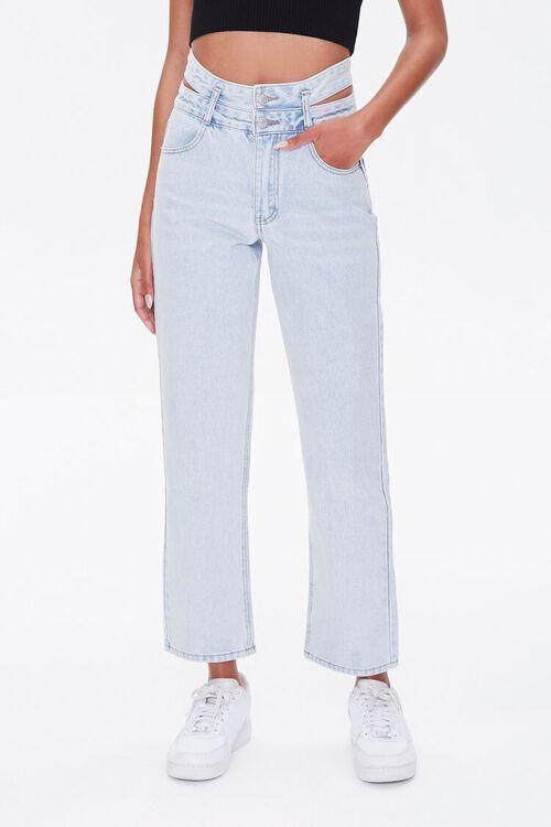 LIGHT DENIM Cutout Straight-Leg Jeans, image 3