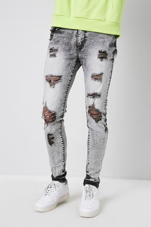 Distressed Bleach Washed Skinny Jeans, image 1