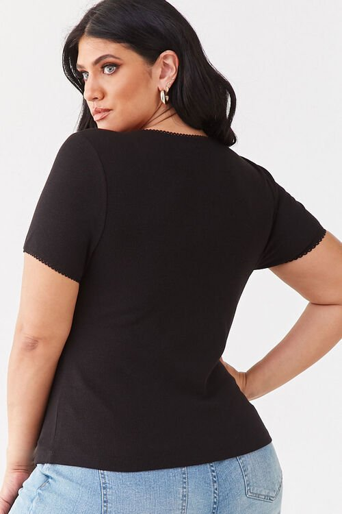 Plus Size Ribbed Scoop Neck Top, image 3