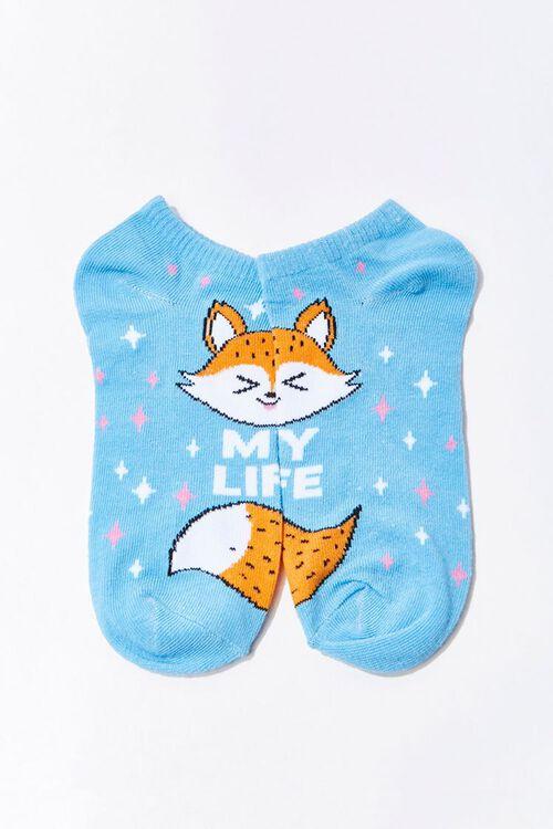 BLUE/MULTI My Life Fox Graphic Ankle Socks, image 2