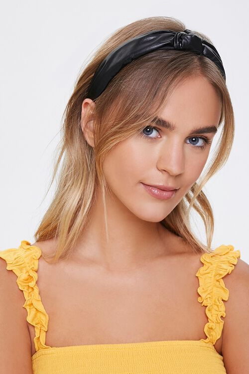 Faux leather spring headband