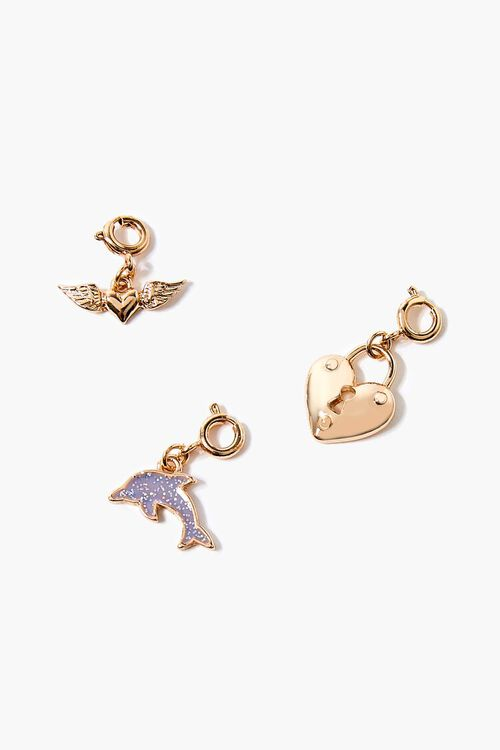 GOLD Dolphin & Heart Charm Set, image 1