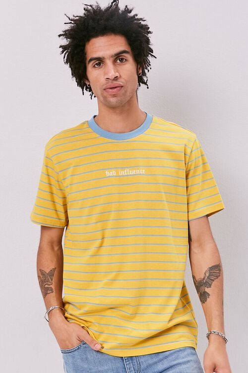 YELLOW/BLUE Bad Influence Embroidered Graphic Striped Tee, image 1