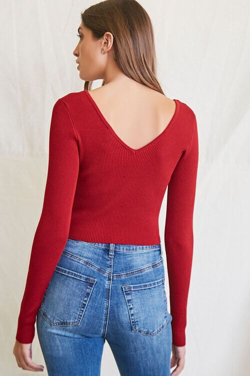 BURGUNDY Ribbed Cropped Sweater, image 3