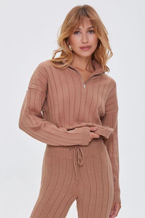 Ribbed Half-Zip Sweater, image 1