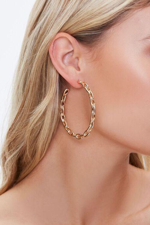GOLD Anchor Chain Hoop Earrings, image 1
