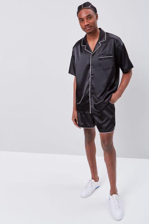 Satin Piped-Trim Shirt, image 4