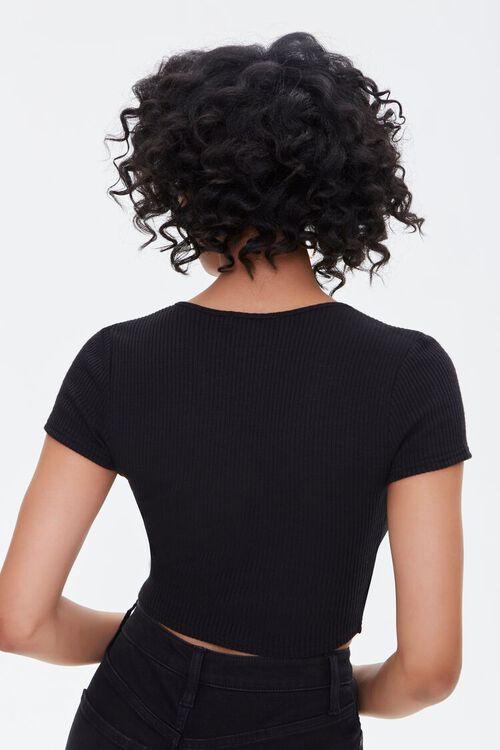 BLACK Ribbed Surplice Crop Top, image 3